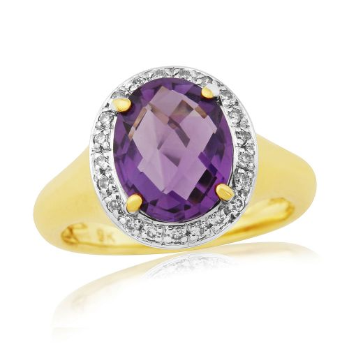 Amethyst 9 Carat Yellow Gold Cluster Ring Oval Cut